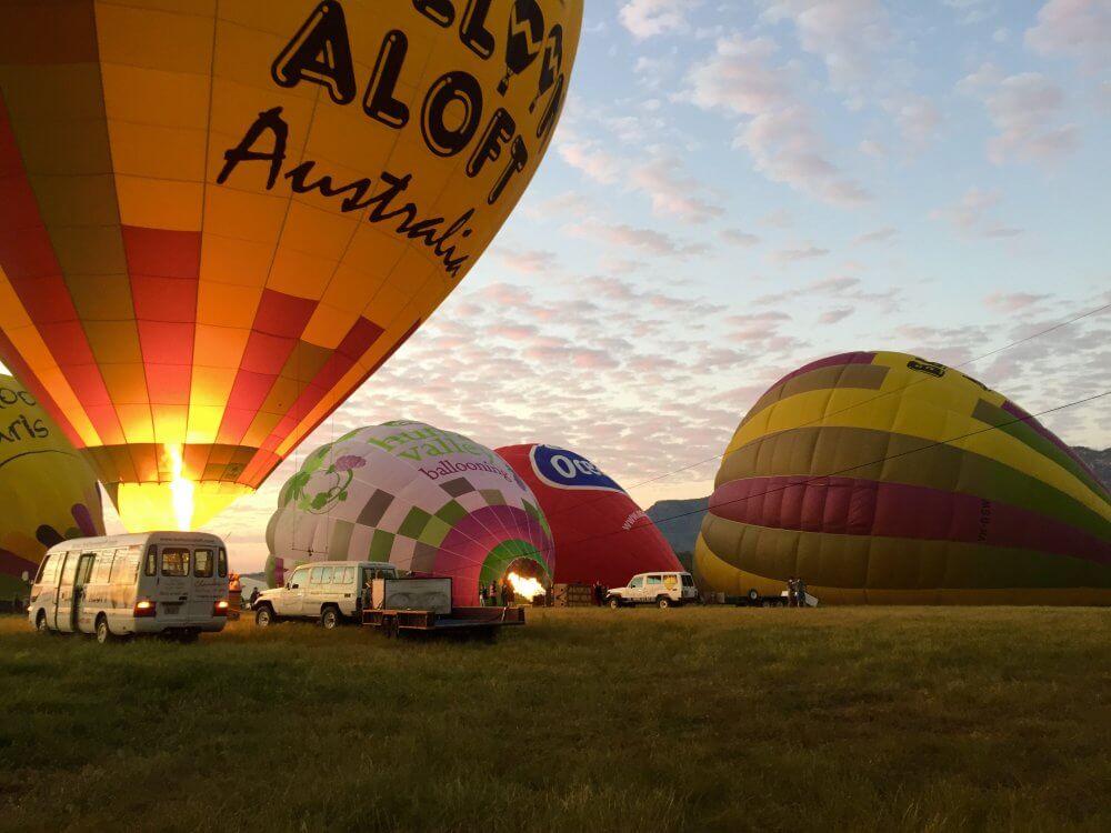 balloon aloft morning light up